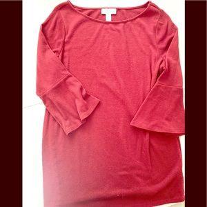 Brick red ribbed maternity shirt